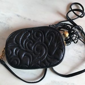Black Leather Floral Stitching Design Clutch Bag